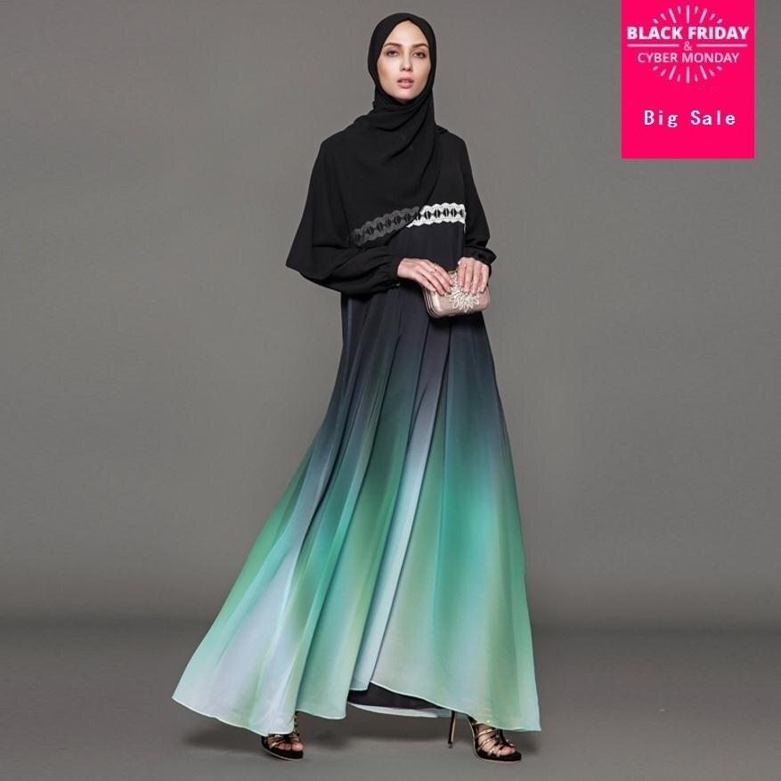 2018 Fahion Muslim Adult Casual Gradient Color Robe Musulmane Turkish Dubai Abaya Muslim Robes Arab Worship Service Wj1330