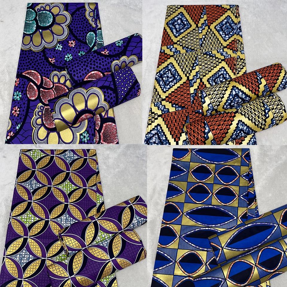 Nuovi tessuti di cera africani nigeriani stampa di cotone avvolgere Batik Ankara roba di materiale dorato originale di alta qualità Pagne