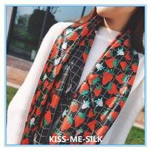 Новый Модный Шелковый шарф шаль с клубничным принтом для девушек