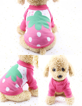 Autumn Winter Pet Sweater Fruit Print Dog Clothes For Small Dogs Pet Dog Cat Wram Fleece Costume Cat Cute Durable Coat Clothes image
