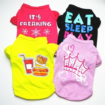 Pet Clothing Fashion Clothes Dog Cotton Dogs Medium Outfits Fries Cute Vest French Bulldog Soft Coke Suit Spring Red Boy Chien image
