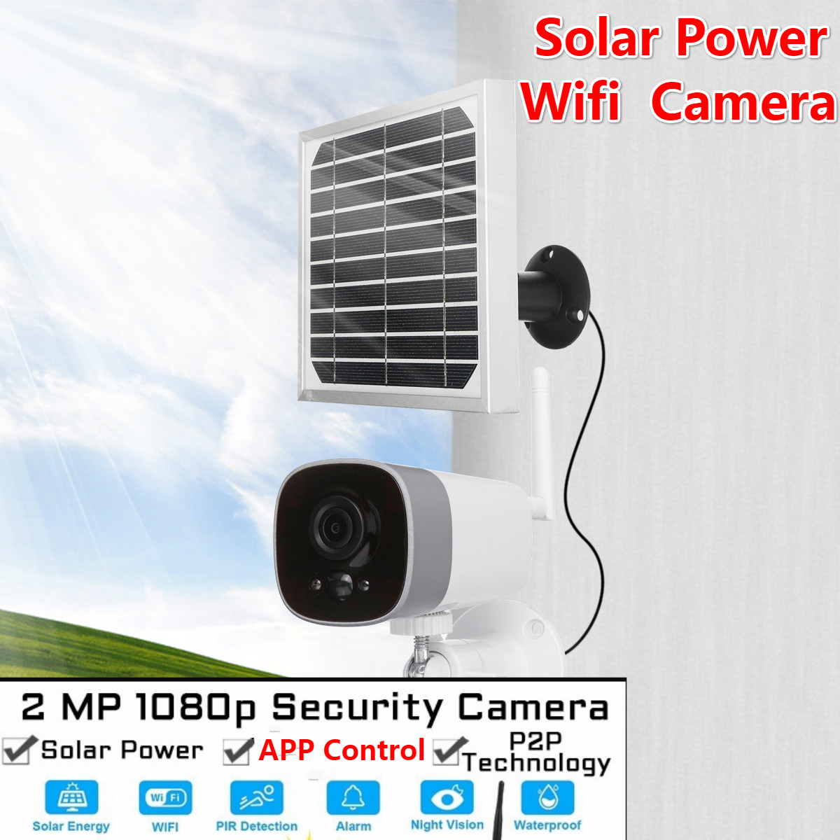 1080P Solar Power Camera 2MP Wireless Wi-fi Security Surveillance Waterproof Outdoor Camera IR Night Vision Solar Power HD Camer