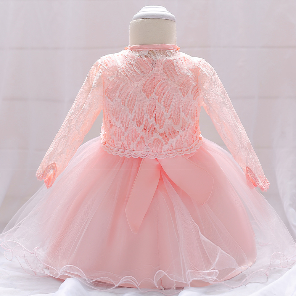 2019 White Flower Formal Dress Baby Birthday BABY'S FIRST Month Wine Princess Dress Lace Long Sleeve Shawl Two-Piece Set