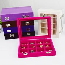 24 Slots Wooden Transparent Cover Buckle Earrings Jewelry Storage Box Organizer Display 20x15x4.5cm Multiple