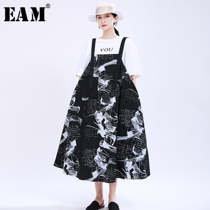 [EAM] Women Black Pattern Printed Big Pocket Strapless Dress New Sleeveless Loose Fit Fashion Tide Spring Summer 2020 1U170