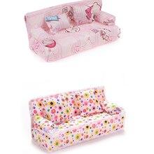Милый миниатюрный кукольный домик, мебель, цветочный тканевый диван с 2 подушками для кукол, детский игровой домик, игрушки, 1 комплект