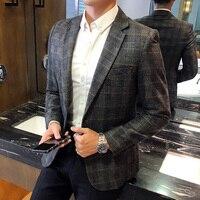 Plaid Blazer Men British Stylish Male Blazer Suit Jacket Business Casual One Button Blazer For Men Regular Abrigo Hombre