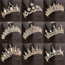 Rhinestone Crystal Tiara Crown Wedding Hair Accessories Bridal Jewelry Golden Diadem