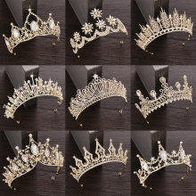 Rhinestone Crystal Tiara Crown Wedding Hair Accessories Bridal Tiara Hair Crown Wedding Hair Jewelry Crystal Tiara Golden Diadem(China)