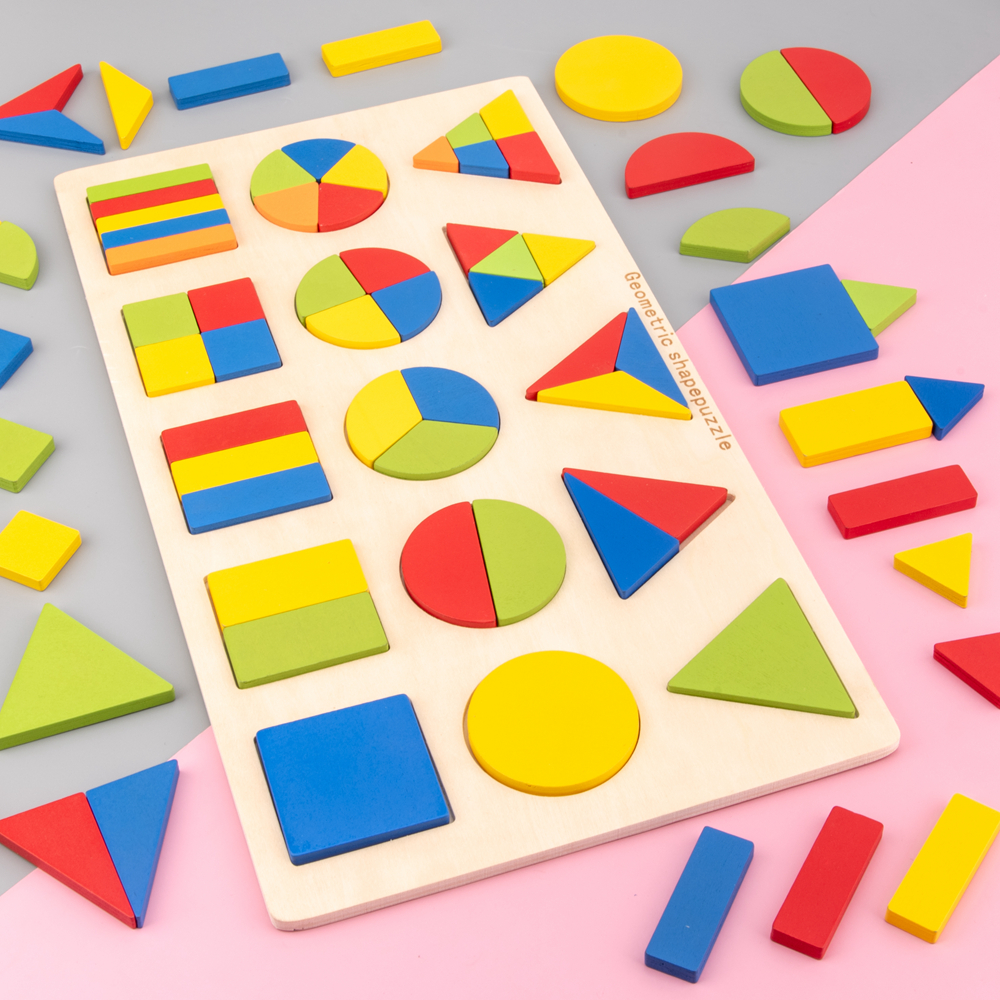 Kids Toy Shape Cognition Board Montessori Puzzle Educational Toys For Children Wooden Toy Jigsaw Early Learning Shape Match Game