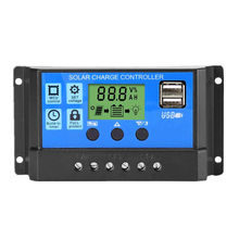 10A 20A 30A Solar Charge Controller 12V 24V Auto PWM 5V 2 USB Output Solar Panel Regulator PV Home Battery Charger LCD Display