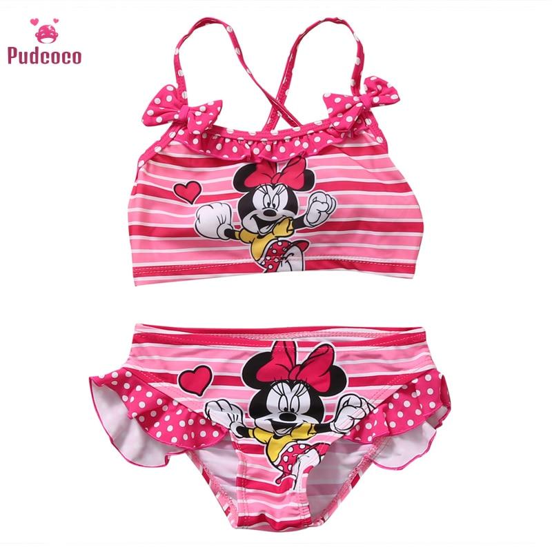 Pudcoco Hot Summer Baby Girls Kids Cartoon 2Pcs Tankini Bikini Set Swimwear Swimsuit Bathing Suit Toddler Beachwear