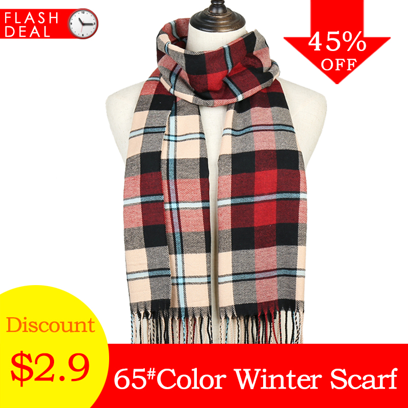 2019 Winter Women Plaid   Scarf   Shawls Pashmina Cashmere Knit Soft Lady Neck   Wraps   Unisex Retro Lattice men's   Scarves   Stole