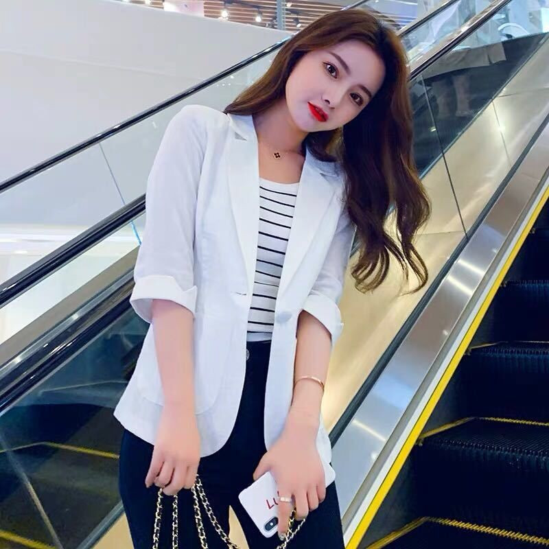 New Summer Thin Small Suit Jacket 2020 Lady Slim Single Button Blazer Women Casual Sun Sunscreen Clothing Plus Size S-5XL Y94