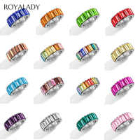 Boho Rainbow Crystal Silver Ring Women Fashion Brilliant Baguette Cubic Zirconia Color Stone Ring Female Wedding Party Jewelry