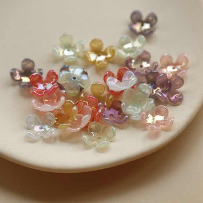 5 pièces prix AB couleur brillant gelée sens quatre fleur casquette japon bricolage résine boucles d'oreilles bijoux accessoires faits à la main