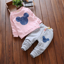 Hot sale Baby Girl Clothes 2016 Autumn Clothing Sets Cartoon Printing Sweatshirts+Casual Pants 2Pcs for Kids