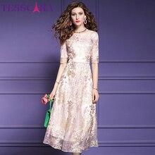 TESSCARA женское длинное роскошное Сетчатое платье с вышивкой Festa Женская Высококачественная свадебная Женская одежда для вечеринки Дизайнерские Элегантные платья