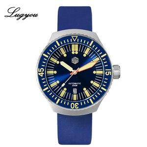 Image 1 - Lugyou San Martin Vintage อัตโนมัติดำน้ำนาฬิกาผู้ชาย 20 ATM หมุน Bezel Sunray สีฟ้าสายยาง Sapphire SLN C3