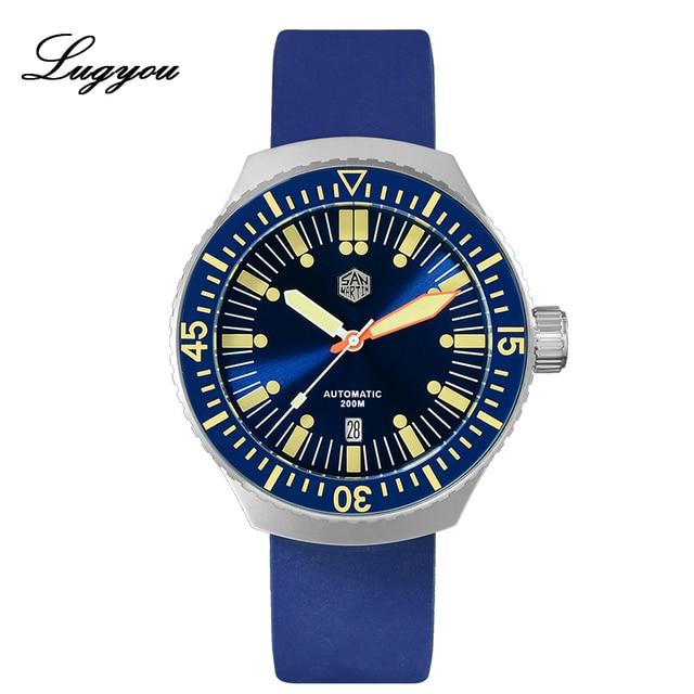 Lugyou San Martin Vintage อัตโนมัติดำน้ำนาฬิกาผู้ชาย 20 ATM หมุน Bezel Sunray สีฟ้าสายยาง Sapphire SLN C3