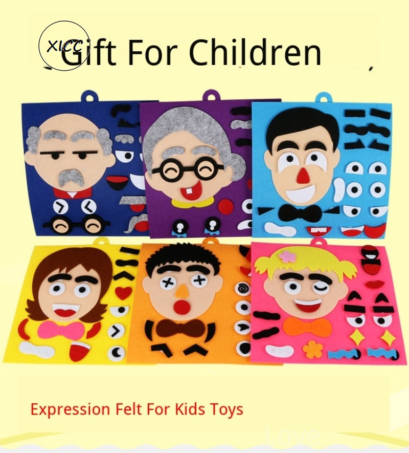 XICC Human Expression Felt For Kids Toys Handmade Teaching Package Non-woven Emotion Change DIY Puzzle Toys Parents Cooperation