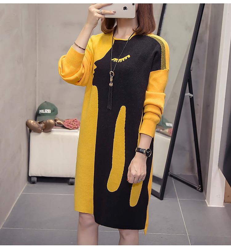P Ammy grande taille robe femmes en vrac mode pull en tricot robe 2019 nouvelle mode chaud Long chandail