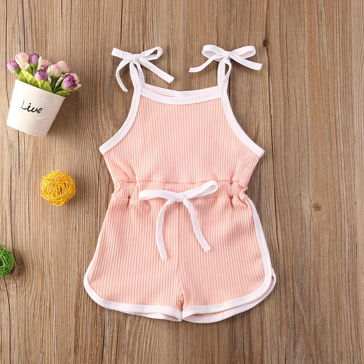 Barboteuse d'été sans manches pour bébés 0-5 ans   Salopette pour filles, solide, combinaisons à ceinture, beaux vêtements 4 couleurs
