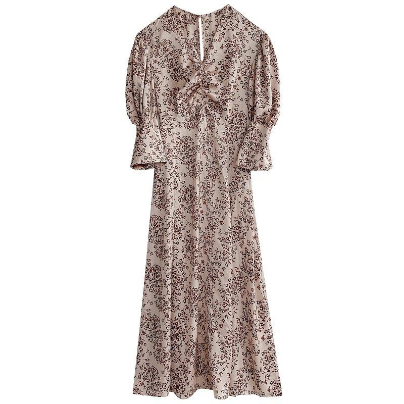 2021 Spring New Ol Slim V Neck Puff Long Sleeve Dresses Women Vintage Print Spring Long Vestidos High Waist Hip A Line Robe 4