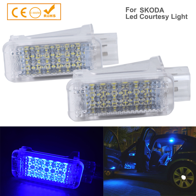2Pcs White Red Blue <font><b>18</b></font> <font><b>smd</b></font> LED LIGHT FOOTWELL Light Lamp For Skoda Octavia Mk3 5E 2012-2017 Error Free image