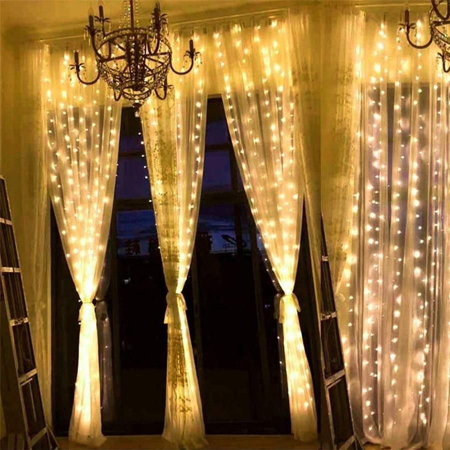 Thrisdar Window Curtain LED String Light 3X2M 3X3M 6X3M Outdoor Icicle Christmas Fairy String Light Wedding Garden Fairy Garland