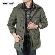 Nancy tino nova jaqueta para caminhadas para homens primavera jovem casual meados de comprimento ao ar livre windbreaker pesca à prova de vento gancho & loop casaco fino
