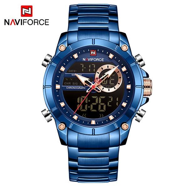 NAVIFORCE Sport Men Watches Fashion Nice Digital Quartz Wrist Watch Steel Waterproof Dual Display Date Clock Relogio Masculino