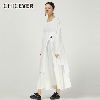 CHICEVER Korean Patchwork Hollow Out Women's Dress O Neck Long Sleeve Oversize Loose Irregular Midi Dress Female 2020 Fashion