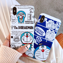 Cute Doraemon pattern case For iPhone X XS XR  XsMAX 6 6s 7 8 8plus Fashion trend style soft tpu cover