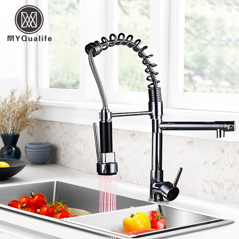 Luxury LED Light Kitchen Faucet Black Deck Mounted Spring Pull Out Kitchen Mixer 2 Function  Hot Cold Sink Tap With Cover Plate