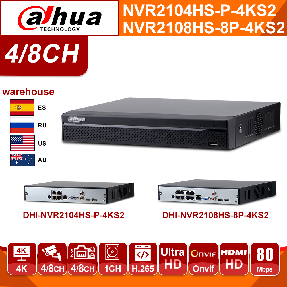 Original Dahua Network Video Recoder NVR2104HS-P-4KS2 NVR2108HS-8P-4KS2 <font><b>4CH</b></font> 8CH POE <font><b>NVR</b></font> 4K H.265 POE <font><b>CCTV</b></font> System Security Kit image