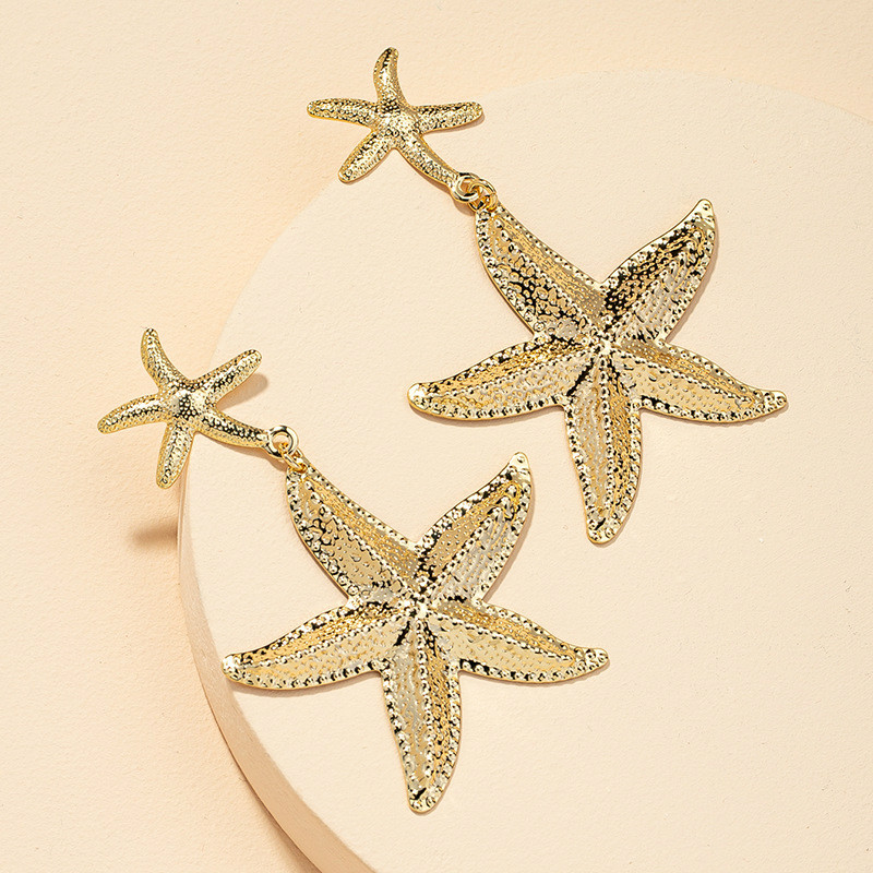 New starfish earrings women fashion exaggerated personality metal
