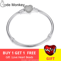 CodeMonkey Authentic 925 Sterling Silver Love Heart Original Bracelet Fit Pandora Beads Charms DIY Jewelry Gift For Women CMC906