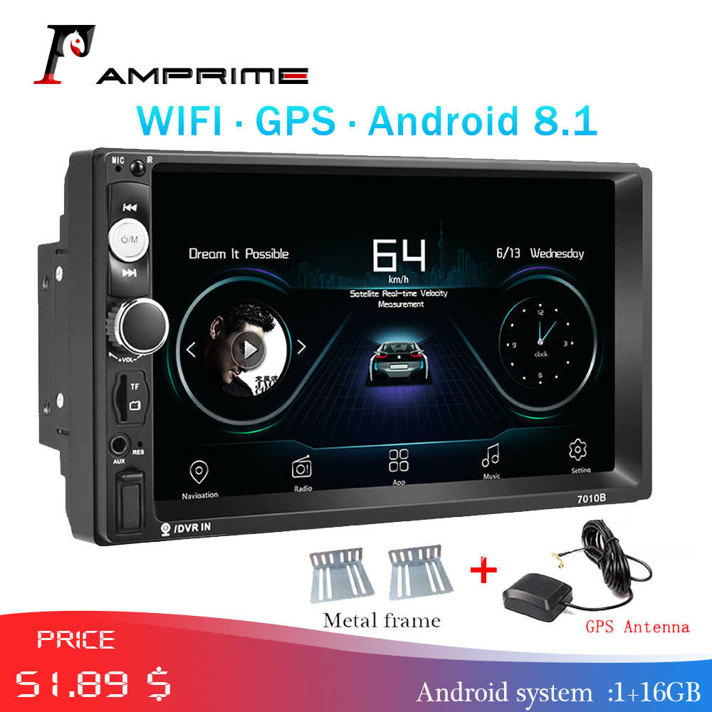Amprime 2 DIN Mobil Radio Android Mobil Multimedia Gps Navigasi WIFI Auto Radio Bluetooth MP5 Stereo FM Audio untuk Kia Backup kamera