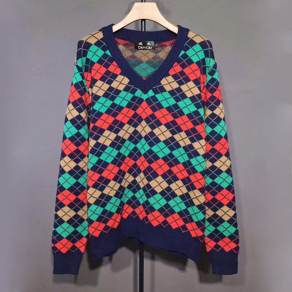 New Brand Argyle Wool V-neck Jumper Mens Designer Sweater  Fashion Knitted Pullover Women Colorful Graphics High Quality Sweater