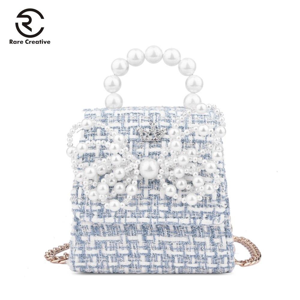 RARE CREATIVE Small Woolen Girl Handbag Bow Pearl Design Mini Bag Princess Chain Bag For Children Quality Top-Handle Bag HS8038
