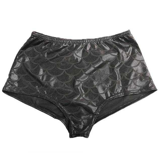 CXZD Women High Waist Mermaid Sexy Skinny Stretch Shorts Thin Beach Long  Short Casual Fish Female Scales Skinny Shorts 13