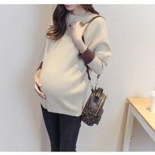 Осенне-зимнее новое платье, вязаный свитер для беременных, Повседневная модная Однотонная рубашка с длинными рукавами, базовый свитер для беременных женщин