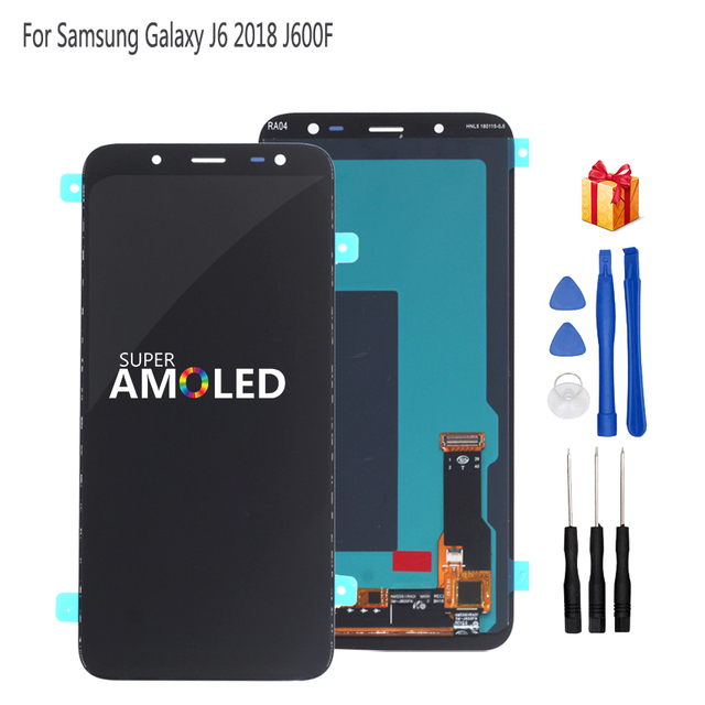 Orijinal AMOLED Samsung Galaxy J6 2018 ekran LCD ekran dokunmatik ekran Digitizer meclisi değiştirme J600F J600 ücretsiz araçlar