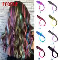 """Pageup Rainbow klipsy do przedłużania włosów One Piece syntetyczne fałszywe kolorowe włosy kawałki różowe długie 20 """"fałszywe włosy doczepiane clip in"""