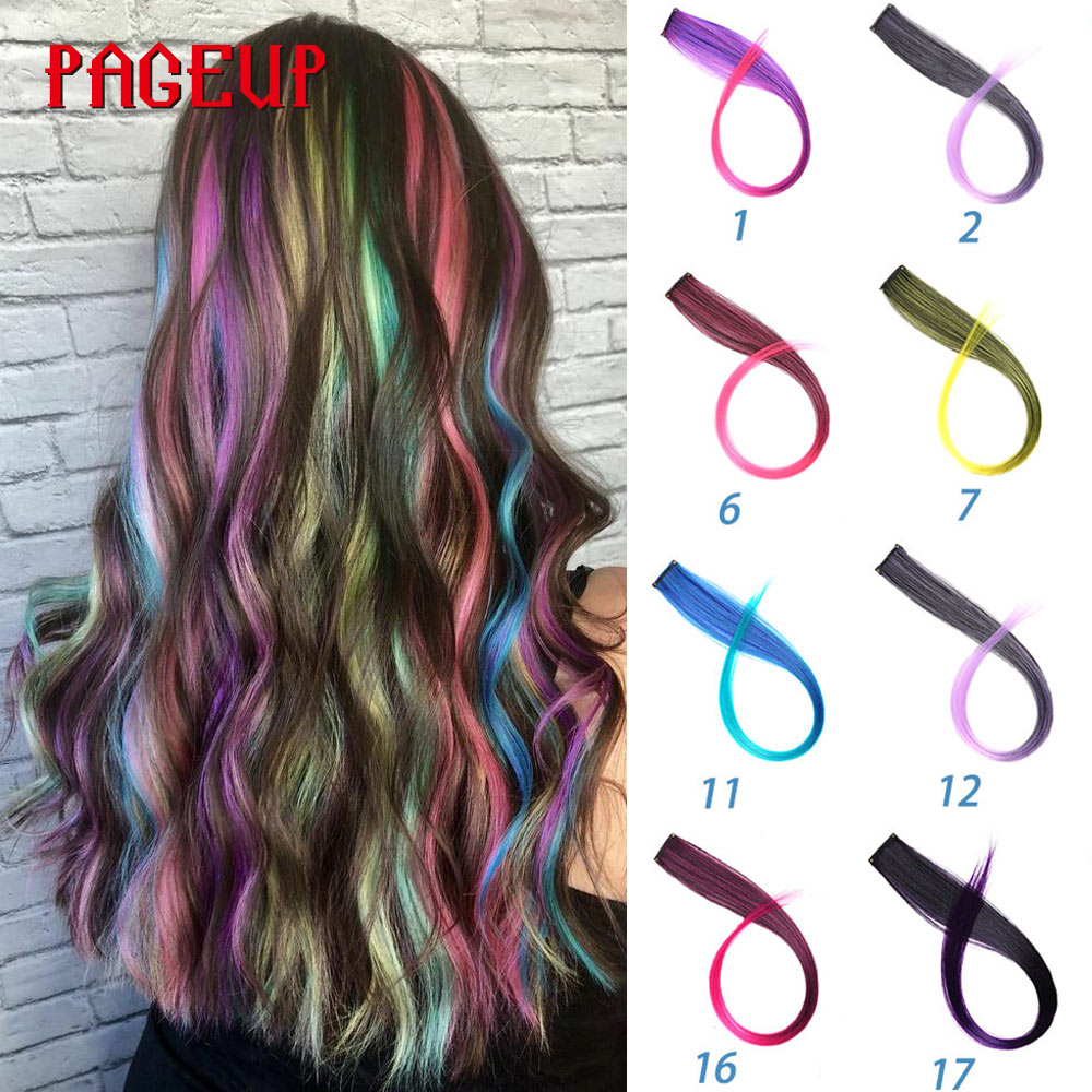 Pageup Rainbow Hair Extension Clip One Piece Synthetic Fake Colored Hair Pieces Pink Long 20