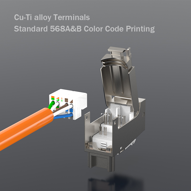 lowest price Premium Quality - CAT7 Full Shielded Keystone Jack RJ45 to LSA Tool-free Connection Compatible for Cat6A Cat 6 Systems