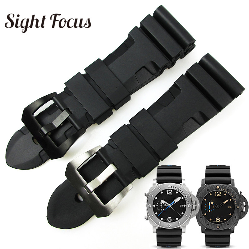 24mm 26mm Lightning Watch Bands for Panerai <font><b>PAM</b></font> Luminor Rubber Strap Pre-V Tang buckle Wrist Watch <font><b>Bracelet</b></font> Sport Band Orologio image