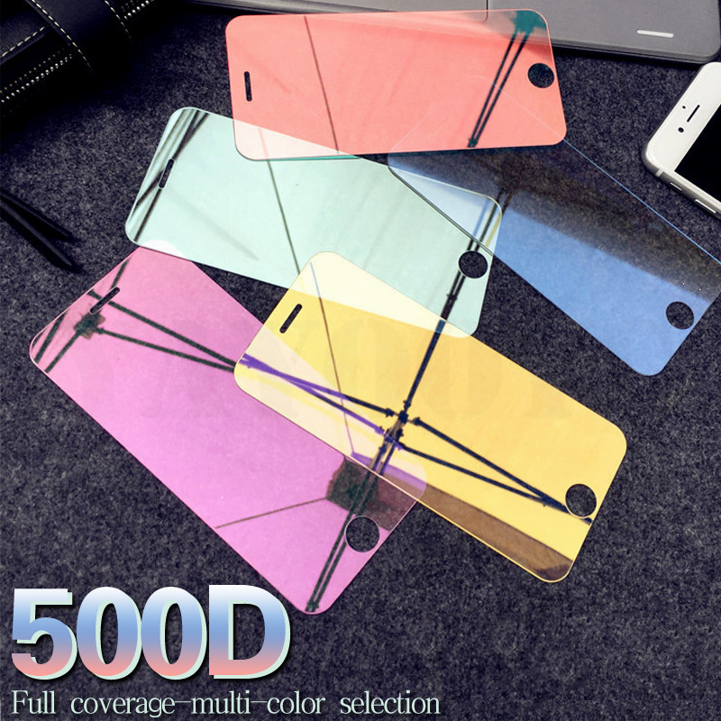 500D Full Cover Screen Protector Tempered For IPhone 11 Pro Max X XR XS Max 9H Colorful Mirror Glass For IPhone 6 6S 7 8 Plus