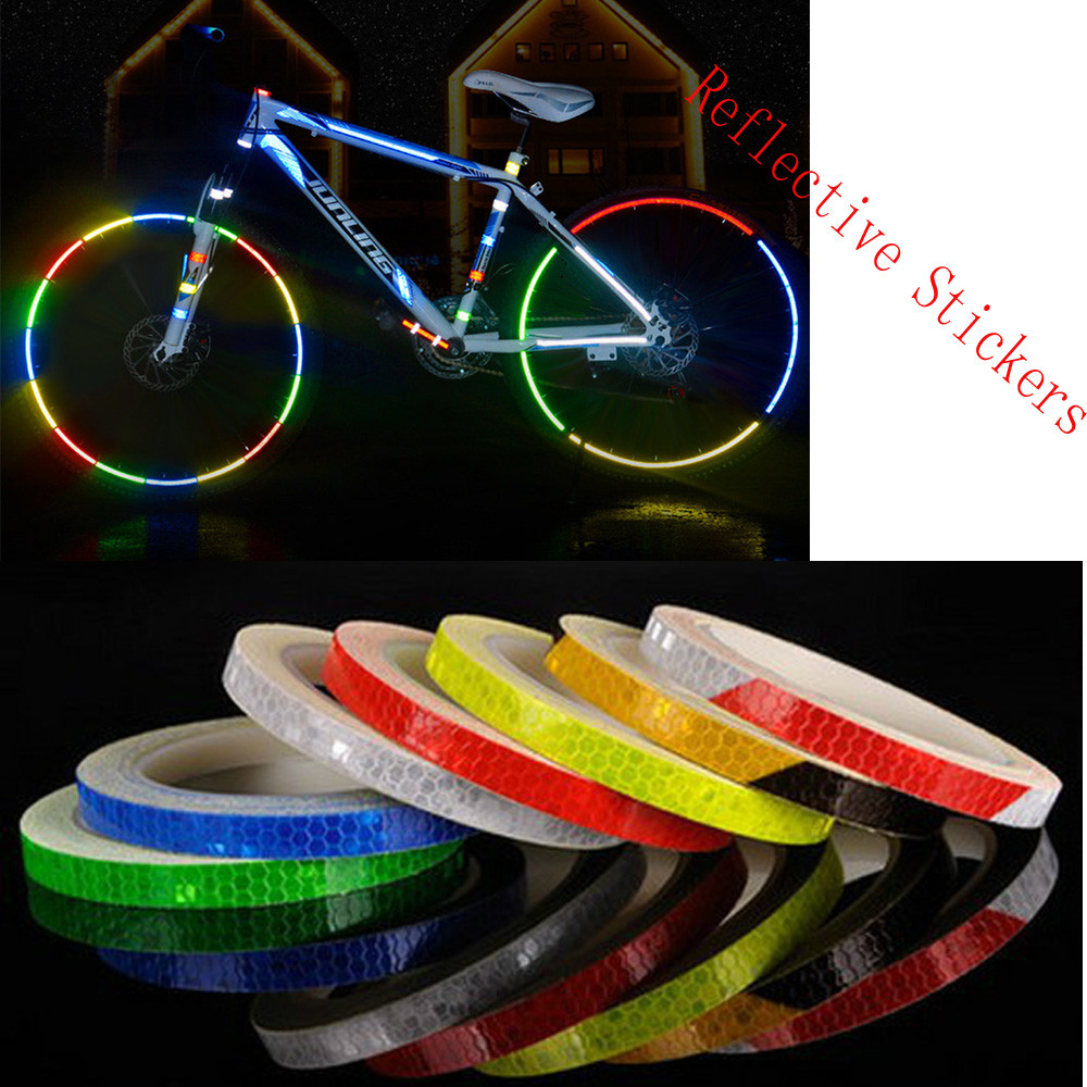 Bike sticker Reflective Stickers Motorcycle Bicycle Reflector Bike Cycling Security Wheel Rim Decal Tape Safer bisiklet aksesuar